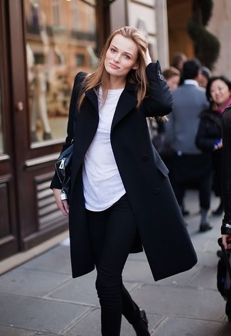 How to wear: black coat, white crew-neck t-shirt, black skinny jeans, black leather ankle boots