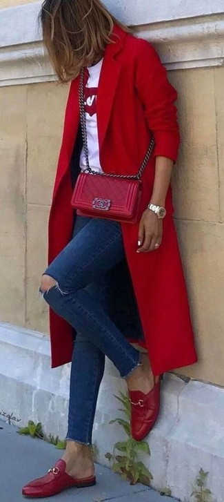 How to wear: red coat, white and red print crew-neck t-shirt, navy ripped skinny jeans, red leather loafers