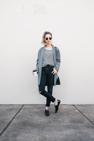Women's Grey Coat, White and Black Horizontal Striped Crew-neck T-shirt, Black Ripped Skinny Jeans, Black Leather Loafers
