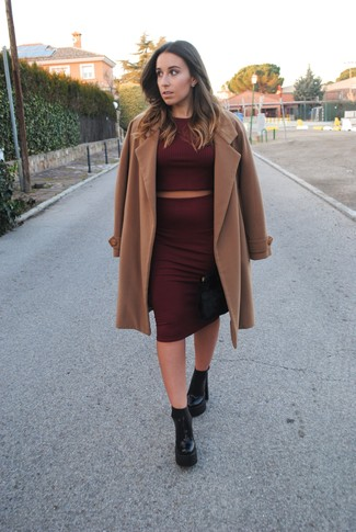 How to wear: camel coat, burgundy cropped sweater, burgundy pencil skirt, black chunky leather ankle boots