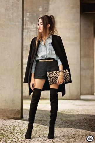 How to wear: black coat, light blue denim shirt, black shorts, black suede over the knee boots