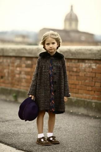 Girls' Charcoal Coat, Navy Dress, Dark Brown Ballet Flats, Dark Purple Hat
