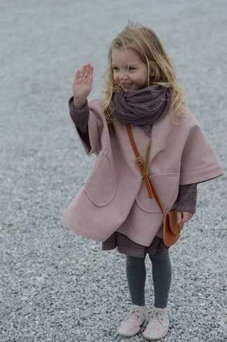 How to wear: pink coat, purple dress, grey desert boots, purple scarf