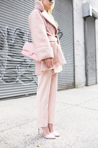 How to wear: pink coat, pink dress pants, pink leather pumps, pink quilted leather crossbody bag