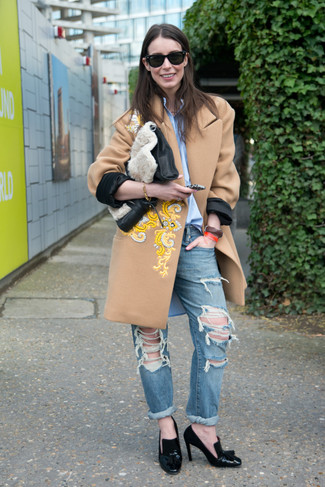 How to wear: camel embroidered coat, light blue dress shirt, blue ripped boyfriend jeans, black leather pumps