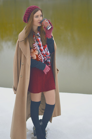Burgundy Mini Skirt | Women's Fashion