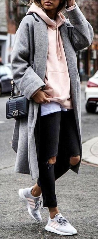 How to wear: grey coat, pink hoodie, white crew-neck t-shirt, black ripped skinny jeans