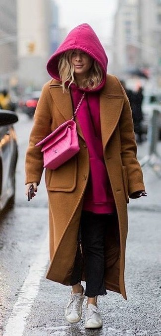 How to wear: brown coat, hot pink hoodie, black jeans, white low top sneakers