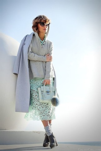 How to wear: light blue coat, grey hoodie, mint lace midi dress, charcoal suede ankle boots