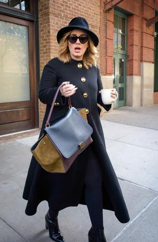 How to wear: black coat, black leggings, black leather ankle boots, brown leather satchel bag