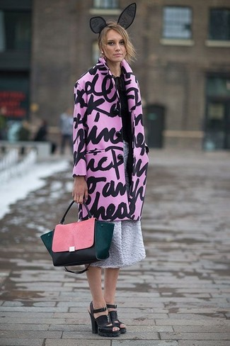 A pink print coat and a headband is a versatile combo that will provide you with variety. Finish off this getup with black chunky leather heeled sandals. This is a fail-safe option for a neat winter-to-spring ensemble.