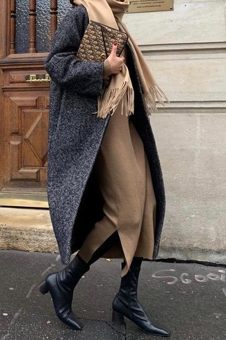 How to wear: charcoal herringbone coat, tan wool midi dress, black leather ankle boots, brown leather clutch