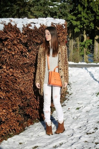 How to wear: camel leopard coat, grey oversized sweater, white ripped jeans, brown leather lace-up flat boots