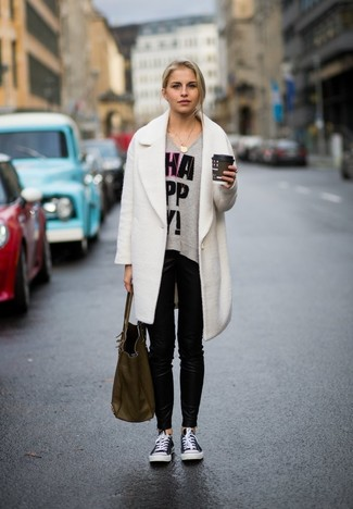 fb028c6519 How To Wear Black Leather Skinny Pants With a White Coat (7 looks ...