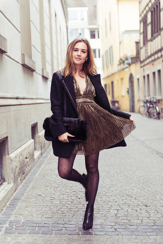 How to wear: black coat, gold party dress, black leather ankle boots, black fur clutch