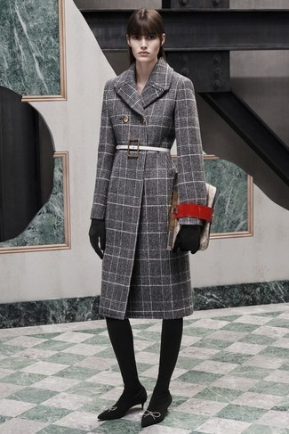 How to wear: grey plaid coat, black suede pumps, red leather clutch, black suede gloves