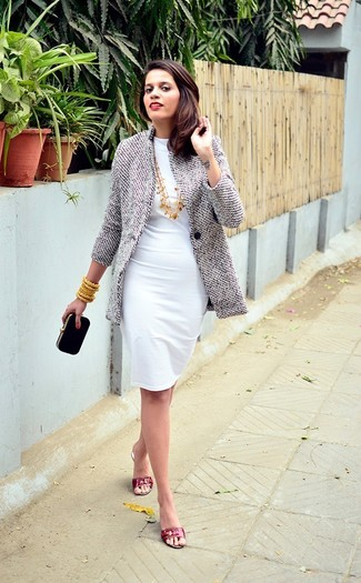 How to wear: grey coat, white sheath dress, red leather flat sandals, black suede clutch