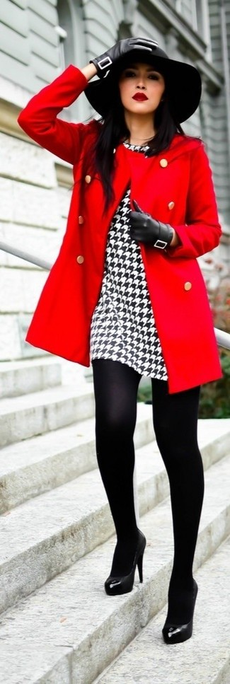 Dress to impress in a red coat and a white and black houndstooth sheath dress. Complement this look with black leather pumps.