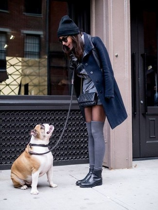How to wear: navy coat, grey shift dress, black leather chelsea boots, grey knee high socks