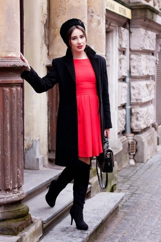 If you feel more confident wearing something comfortable, you're bound to fall in love with this totally chic pairing of a black coat and a red skater dress. Black suede over the knee boots are a fitting choice here. As the weather starts to cool down, you'll find that an ensemble like this is great for fall.