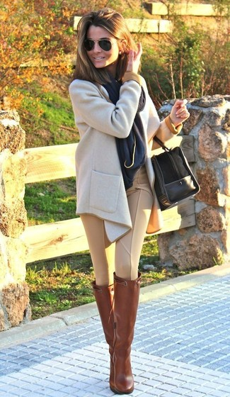 How to wear: beige coat, tan skinny pants, tobacco leather knee high boots, black suede duffle bag