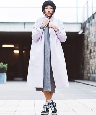 How to wear: light violet coat, grey knit sweater dress, black canvas high top sneakers, black knit beanie