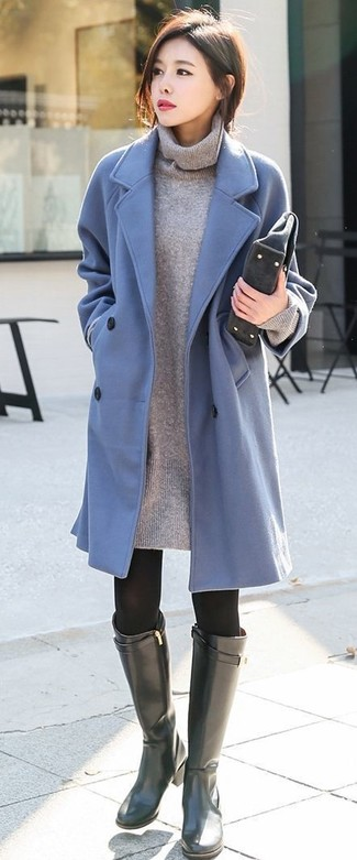 How to wear: light blue coat, grey sweater dress, black leather knee high boots, charcoal suede clutch