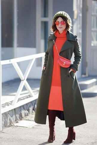 Get into glamour mode in an olive coat and Ralph Lauren Cat Eye Spectator Sunglasses. Burgundy suede over the knee boots work amazingly well within this ensemble. There's no nicer way to cheer up a gloomy autumn afternoon than a stylish look like this one. (Ok, maybe there are a couple.)