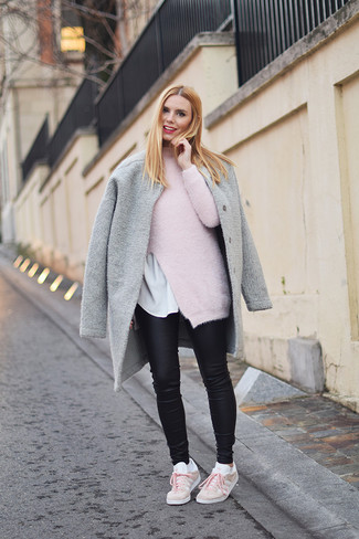 How to wear: grey coat, pink mohair turtleneck, white crew-neck t-shirt, black leather skinny jeans