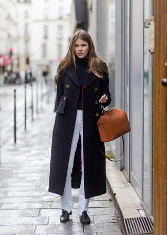 How to wear: black coat, black turtleneck, white jeans, black leather ankle boots