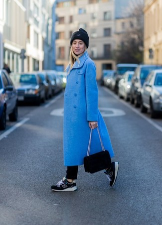 How to wear: blue coat, black turtleneck, black jeans, black athletic shoes