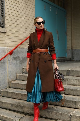 How to wear: dark brown coat, red turtleneck, aquamarine pleated midi skirt, red leather knee high boots