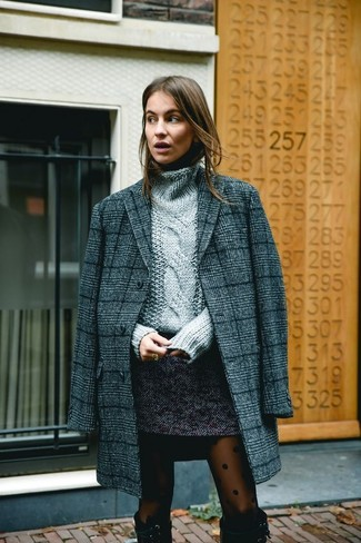 How to wear: charcoal plaid coat, grey knit turtleneck, charcoal tweed mini skirt, black suede knee high boots