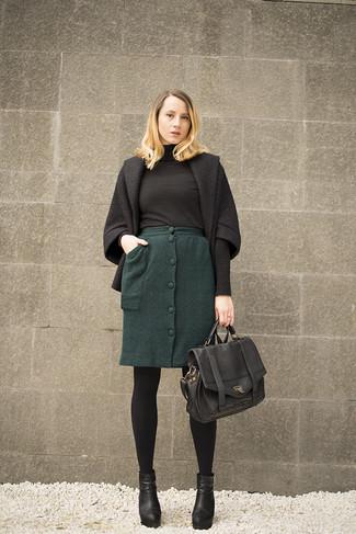 How to wear: black coat, black turtleneck, dark green wool pencil skirt, black leather ankle boots