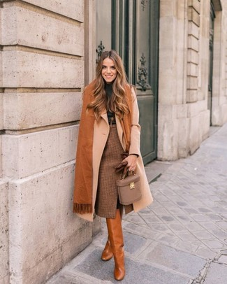 How to wear: beige coat, charcoal turtleneck, brown check pencil skirt, tobacco leather knee high boots
