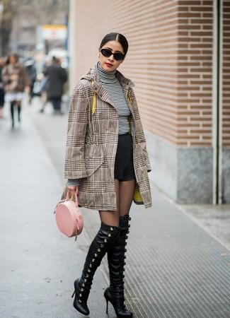 How to wear: brown plaid coat, white and black horizontal striped turtleneck, black shorts, black leather over the knee boots