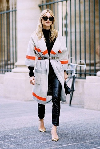 How to wear: grey horizontal striped coat, black turtleneck, black leather skinny pants, gold leather ballerina shoes