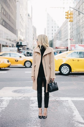 A camel coat and black leather slim trousers are appropriate for both smart casual events and day-to-day wear. Round off this look with black leather pumps.