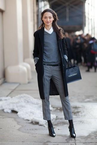 How to wear: black coat, grey v-neck sweater, white dress shirt, grey dress pants