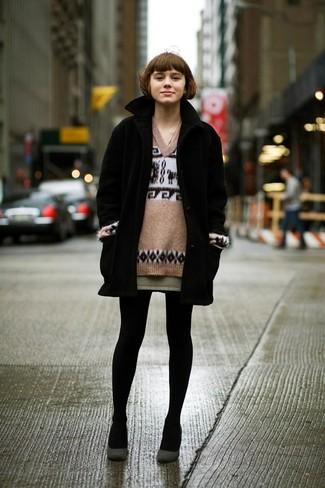 Coat v neck sweater mini skirt large 389