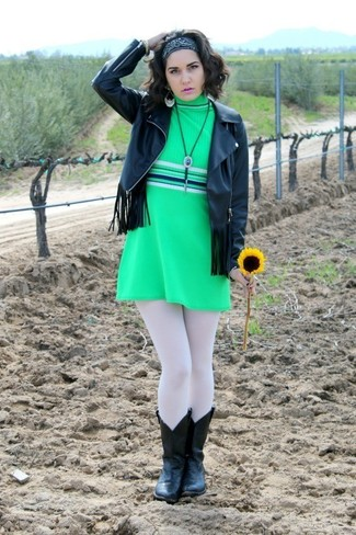How to wear: black bandana, black leather cowboy boots, green shift dress, black fringe leather biker jacket