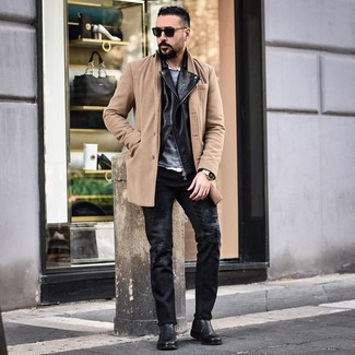 How to wear: white long sleeve shirt, grey crew-neck sweater, black leather biker jacket, camel overcoat