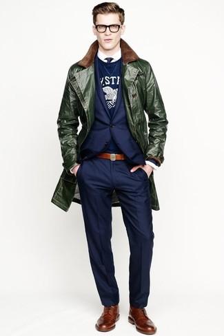 How to wear: white long sleeve shirt, navy and white print crew-neck sweater, navy blazer, dark green overcoat
