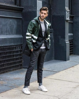 How to wear: white crew-neck t-shirt, grey crew-neck sweater, charcoal wool blazer, dark green raincoat