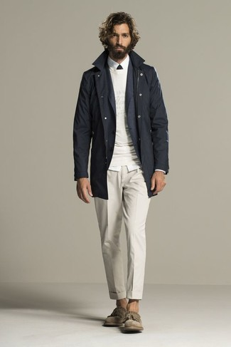 How to wear: white dress shirt, white crew-neck sweater, charcoal blazer, black trenchcoat