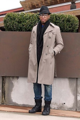 How to Wear a Black Scarf For Men: Consider teaming a beige trenchcoat with a black scarf for a carefree, cool-kid vibe. You could perhaps get a little creative on the shoe front and dress down this outfit by rocking a pair of black leather work boots.