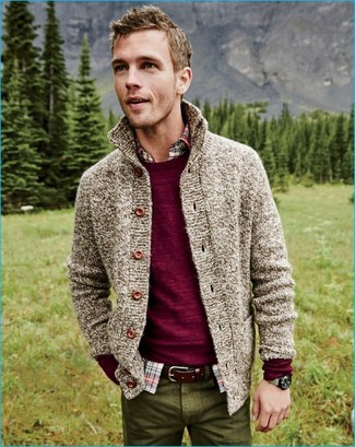 How to wear: burgundy crew-neck sweater, beige knit cardigan, multi colored plaid long sleeve shirt, olive chinos