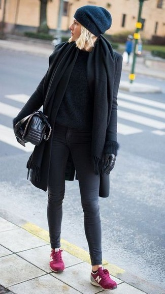How to wear: charcoal skinny jeans, black fluffy crew-neck sweater, black coat, black shawl