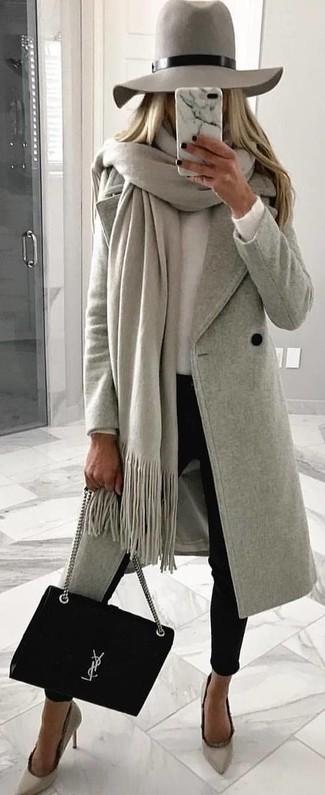 How to wear: black skinny pants, white crew-neck sweater, grey coat, grey shawl