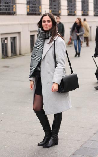 How to wear: black mini skirt, grey crew-neck sweater, grey coat, grey plaid shawl